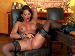 Gorgeous brunette Destiny Dixon with fake tits shows off her