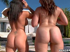 Jenna Presley and Bella Foxx are playful lesbian women with