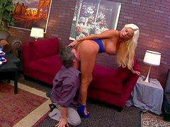 Heavy chested and arousing blonde Nikita von James enjoys in