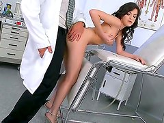 Fair skinned beautiful brunette Ann Marie La Sante came at her doctor for an examination. She