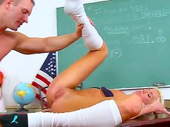 Pretty handsome blonde girl Maia Davis getting hard fucked in her classroom, she is