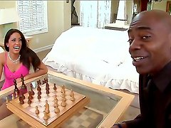 Hot brunette chick Lyla Storm lost in chess game some blowjob and now