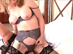 Experienced lusty milf lezzies Nina Hartley and Rachel Steele with big fake tits and bouncing