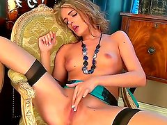 Wonderful babe with curly hair Lucy Blackburn is solo masturbating right on