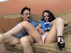 Playful brunette hottie gets her juicy pussy fucked nice and slow