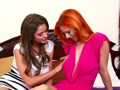 Astonishing slim gals Ariel Emily Addison wish to eat each other's juicy cunts