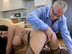 Busty tattooed bitch Kerry Louise gets laid hard