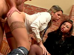 Two lewd milfs get pounded in turns by insatiable daddy