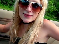 Titless skinny blondie sucks a fat strong dick right in the car to win cum