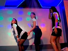 Nasty girls are dancing dirty on a stage