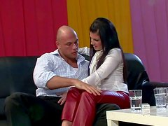 Dazzling brunette whore gives the best blowjobs around