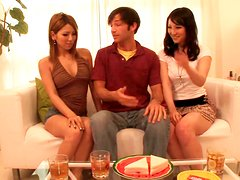 Lovely Japanese chicks Sakura Kiryu & Akari Kimishima suck a strong hot dick