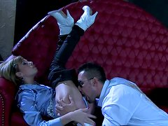 Alluring bitch Donna Belle in satin blouse gets fucked