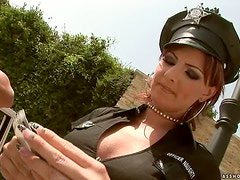 Gabriella May Sluttiest Police Officer Fucked in the Ass By Three Cocks
