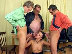 Lewd secretary in glasses Heidi gonna ride and suck three dicks in the office