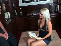 Blond fairy Barbie Addison welcomes hard fuck in doggy and cowgirl styles
