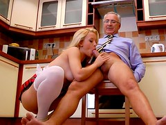 Blonde student chick Chanel C gives her old teacher a blowjob