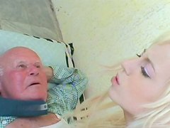 Delicious blond amateur Kristyna B hops on ancient meety dick