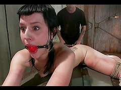 Brunette Tied Up with Ropes & Abused By Sadist