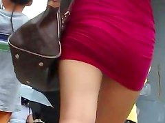 Spicy Asian babe being upskirted