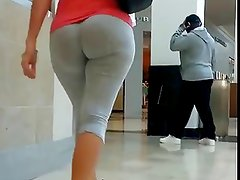 Blonde with a whooty in tight leggings