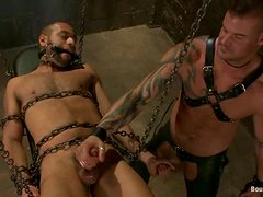 Gay BDSM Action with Chain Bondage and Ass Banging