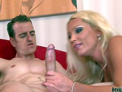 Golden haired and hot babe Diana Doll gets her hands