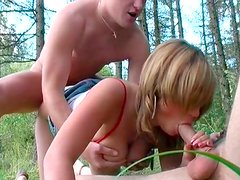 Steamy threesome fun with Russian chick n the forest
