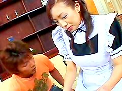Busty japanese maid in action