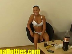 Cute shaved lady masturbates at the first casting