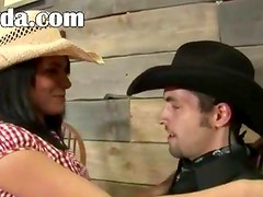 blackhair and cowboy sex in the pub