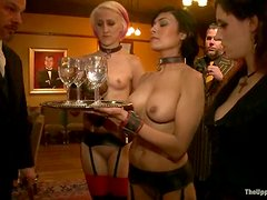 Busty babes get tied up and then toyed deep in their pussies