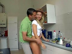 Too voracious gal Isabelle rides a stiff hot dick on the kitchen floor