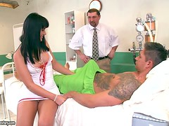 Busty nurse is pleasing her patient and the doc