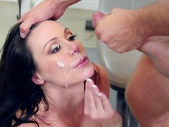 Pretty brunette is getting a gorgeous facial load