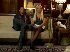 Blonde tranny Annalise and her BF Lobo drill each other's butts indoors