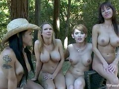 Two Busty Girls Fucked by Two Busty Shemales Outdoors in the Park
