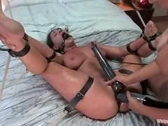 Charley Chase gets bonded and toyed in a bedroom