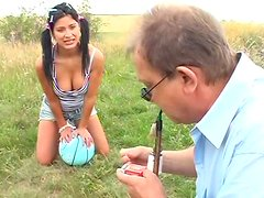 Filthy brunette teen Tereza gives a head to kinky daddy in pose 69