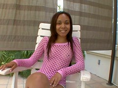 Slim ebony gal in fishnet top provides a hot strong dick with a deepthroat