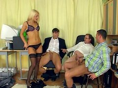 Passionate blond clerk Nikki strips to seduce men for a tough missionary