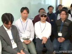 Slutty Japanese office girl kisses with guys and gets fingered