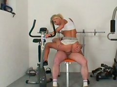 Perverted sporty blondie Adela B sucks and rides the dick of old coach
