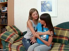Exotic and Lusty lesbians make each other feel good