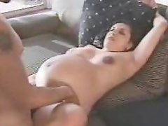 Pregnant brunette gets fondled and stunningly fucked