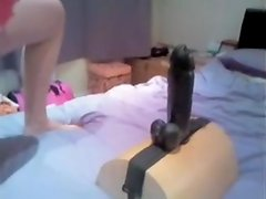 Preggo wife rides fresh large vibrator