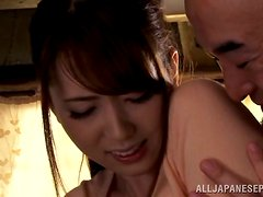 Slutty babe Yui  is sucking a very old cock
