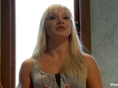 Blonde babe gets bounded and toyed in her ass