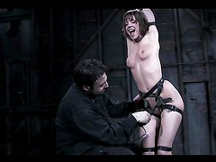 Extreme Nipple Punishment in BDSM with Tight Brunette