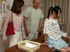 Cute Japanese chick gets her body oiled and her vag drilled doggy style